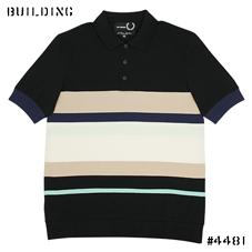 RAF SIMONS×FRED PERRY_STRIPE POLO_BLACK×BEIGE×NAVY