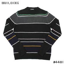 RAF SIMONS_BORDER CREW NECK KNIT_BLACK×GRAY×GREEN