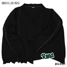 RAF SIMONS_OVERSIZED AND DESTROYED V NECK KNIT[LETTERED]_BLACK