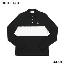 MAISON KITSUNE_LONG SLEEVE POLO SHIRT_BLACK×WHITE