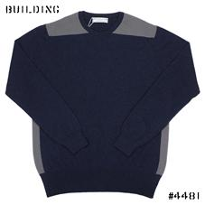 JOHNSTONS_CASHMERE BICOLOR KNIT_NAVY×GRAY