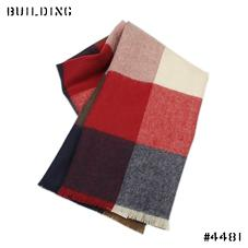JOHNSTONS_CHECK MUFFLER_RED×NAVY