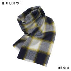 JOHNSTONS_CHECK MUFFLER_NAVY×MUSTARD