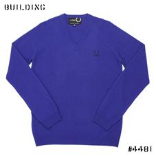 RAF SIMONS×FRED PERRY_V NECK KNIT_BLUE