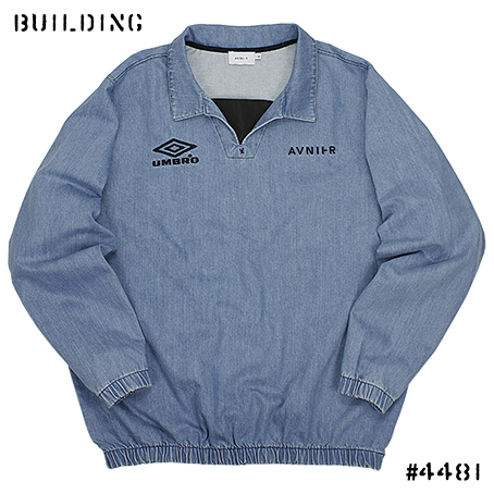 AVNIER×UMBRO_DENIM DRILL TOP_BLUE