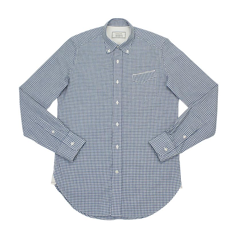 Officine generale button down shirt blue gingham check for Blue gingham button down shirt