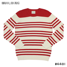 CHAUNCEY_BORDER KNIT_RED×WHITE