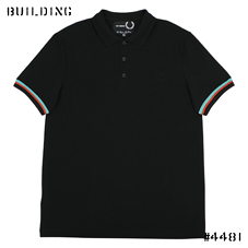 RAF SIMONS×FRED PERRY_STRIPE CUFF POLO_BLACK
