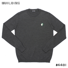 RAF SIMONS_「?」 CREW NECK KNIT_CHARCOAL GRAY