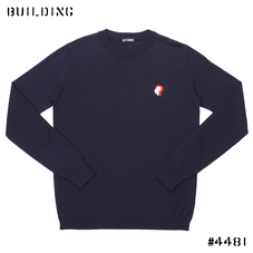 RAF SIMONS_「?」 CREW NECK KNIT_NAVY