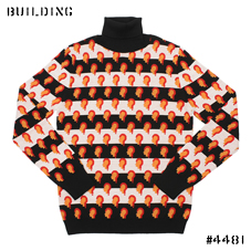 RAF SIMONS_「?」 TURTLE NECK KNIT_BLACK×WHITE×ORANGE