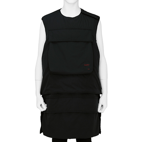 ALMOSTBLACK_LONG VEST_BLACK