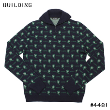 RAF SIMONS_HALF ZIP KNIT_NAVY×GREEN