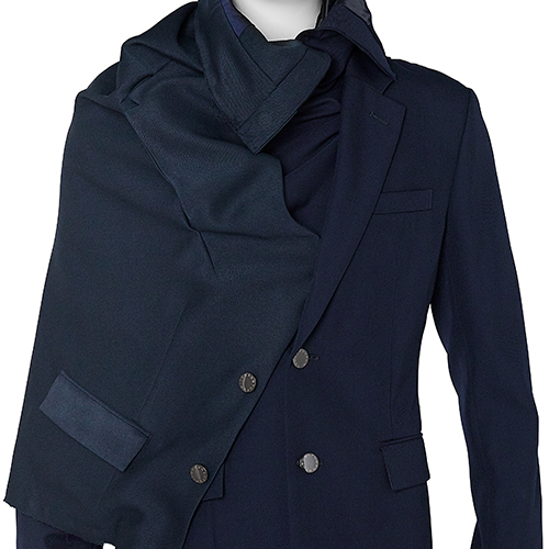 FUMITO GANRYU_DRAPED JACKET_NAVY