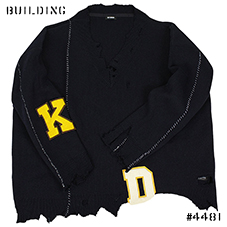 RAF SIMONS_OVERSIZED AND DESTROYED V NECK KNIT[LETTERED]_NAVY