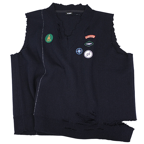 RAF SIMONS_OVERSIZED AND DESTROYED V NECK KNIT VEST_NAVY