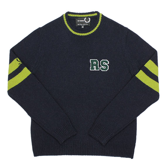 RAF SIMONS×FRED PERRY_CREW NECK KNIT_NAVY×GREEN