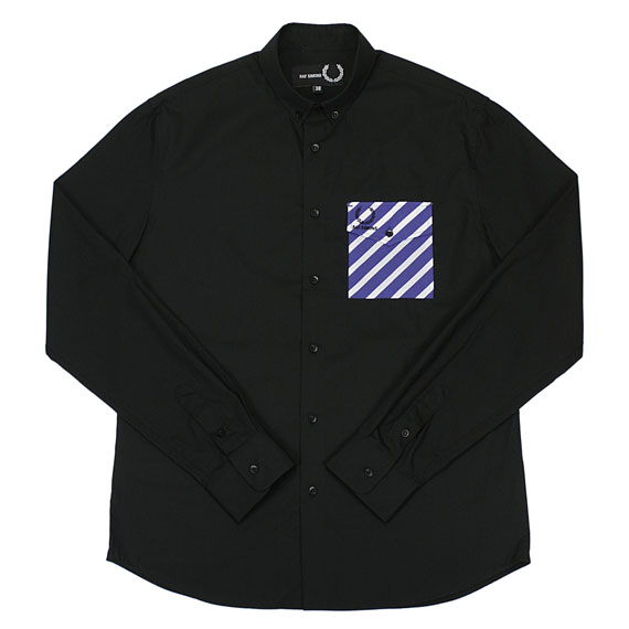 RAF SIMONS×FRED PERRY_STRIPE SHIRT_BLACK