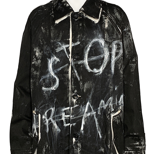 TIGRAN AVETISYAN×ELIMINATOR_HAND PAINTED COAT [ STOP DREAMING ]_BLACK