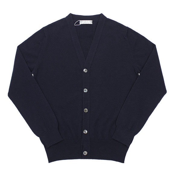 JOHNSTONS_CASHMERE CARDIGAN_NAVY