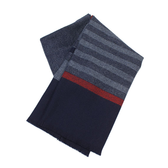 JOHNSTONS_STRIPE MUFFLER_NAVY×RED