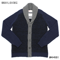 KUBRICK×Corgi_SHAWL COLLAR CARDIGAN_NAVY×BLACK×GRAY