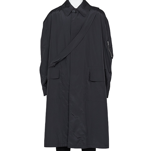 RANDOM IDENTITIES_SATIN OVER COAT_BLACK
